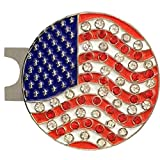 Giggle Golf Bling USA Flag Golf Ball Marker With A Standard Hat Clip For Women