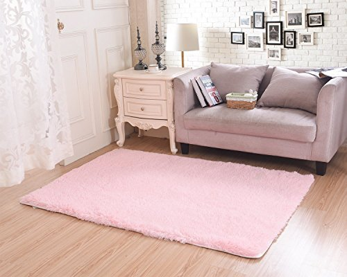 Living Room Rug, CWKTITI Super Soft Indoor Modern Shag Area Rugs Bedroom Rug for Children Play Solid Home Decorator Floor Rug and Carpets 4- Feet By 5- Feet, Pink ()