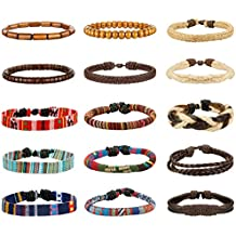 LOYALLOOK 15pcs Men Women Linen Hemp Cords Wood Beads Ethnic Tribal Bracelets Leather Wristbands
