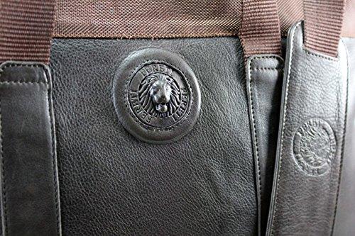 FERETI Marrón piel mensagero bolso de grande para portatil ordenador rrfP4