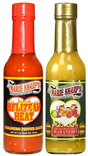 Marie Sharps Belizean Heat - Marie Sharp's BELIZEAN HEAT and GRAPEFRUIT PULP Habanero Pepper Sauce 5oz Combo (Pack of 2)
