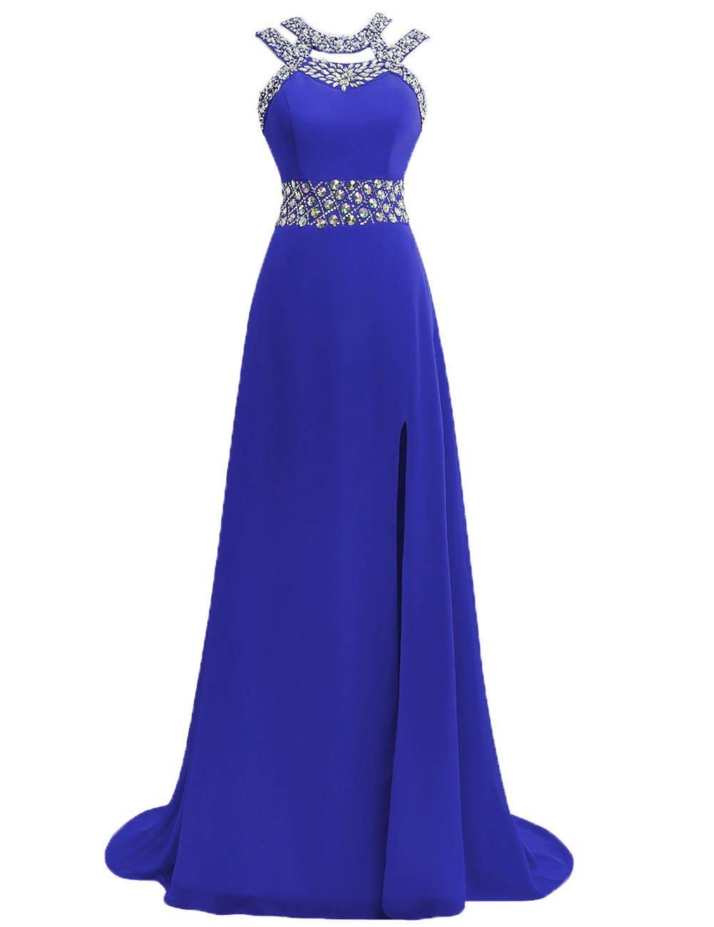 Prom Dress Halter Evening Gowns Formal Long Slit Chiffon Bridesmaid Dresses A line Open Back