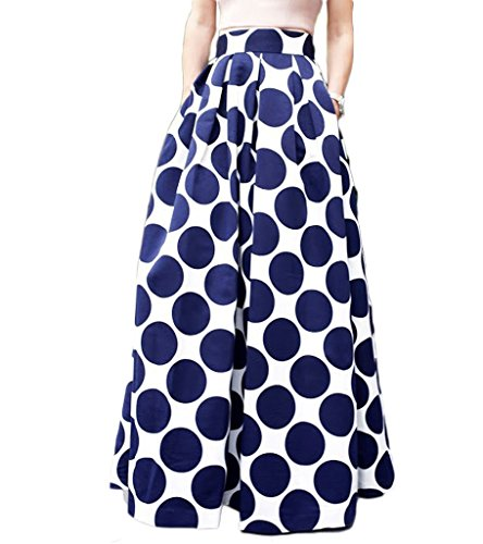 Persun Women Contrast Polka Dot Print Maxi Skater Skirt WHITE/NAVY,16 (Blue Jean Skirts In Bright Colors)