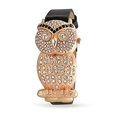 Mothers Day Gifts Womens Black Leather Rose Gold Plated Wise Mom Owl Watch