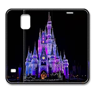 Leather Samsung Galaxy S5 Case Leather,Cinderella Castle Christmas Lightnings Smart Case Cover for Samsung Galaxy S5 with Stand Feature Auto Wake Up / Sleep, Original Design And Made By PhilipHayes
