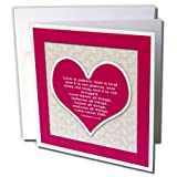 3dRose Red Heart and Bible Verse on Love on A Lace Background. Greeting Cards, 6 x 6 Inches, Set of 6 (gc_178769_1)