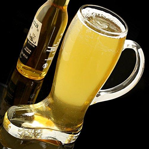 Diseño de jarra de cerveza de cristal con asa para 1,75 L - bota de cristal con mango de estilo alemán zapatero para: Amazon.es: Hogar