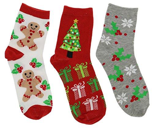 Ho Ho Ho! Women's Christmas Crew Socks Gift Set (3Pr) (Gingerbread Man, Holly & Tree) Gingerbread Man Gift Set