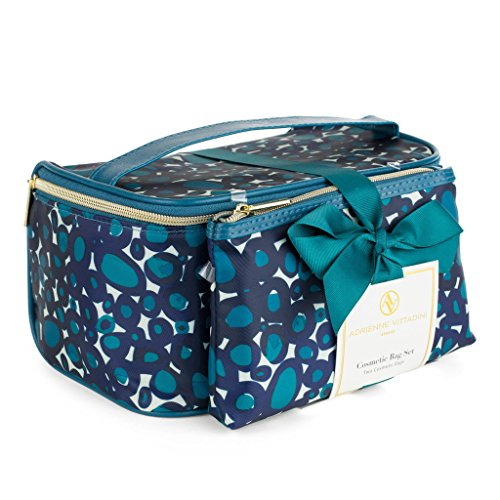 Adrienne Vittadini Makeup Bag Set: Nylon Carry On Toiletry & Cosmetic Train Case with Zipper for Women - Tote Bags with Plenty of Storage for Overnight Travel or Weekender Trips - Teal Leopard Large Weekend