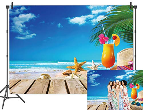 Fanghui 7x5FT Vinyl Hawaii Beach Photography Backdrop Wood Board Blue Sky Ocean Coconut Tree Starfish Background Summer Birthday Party Banner Decoration Supplies Photo Booth Props -