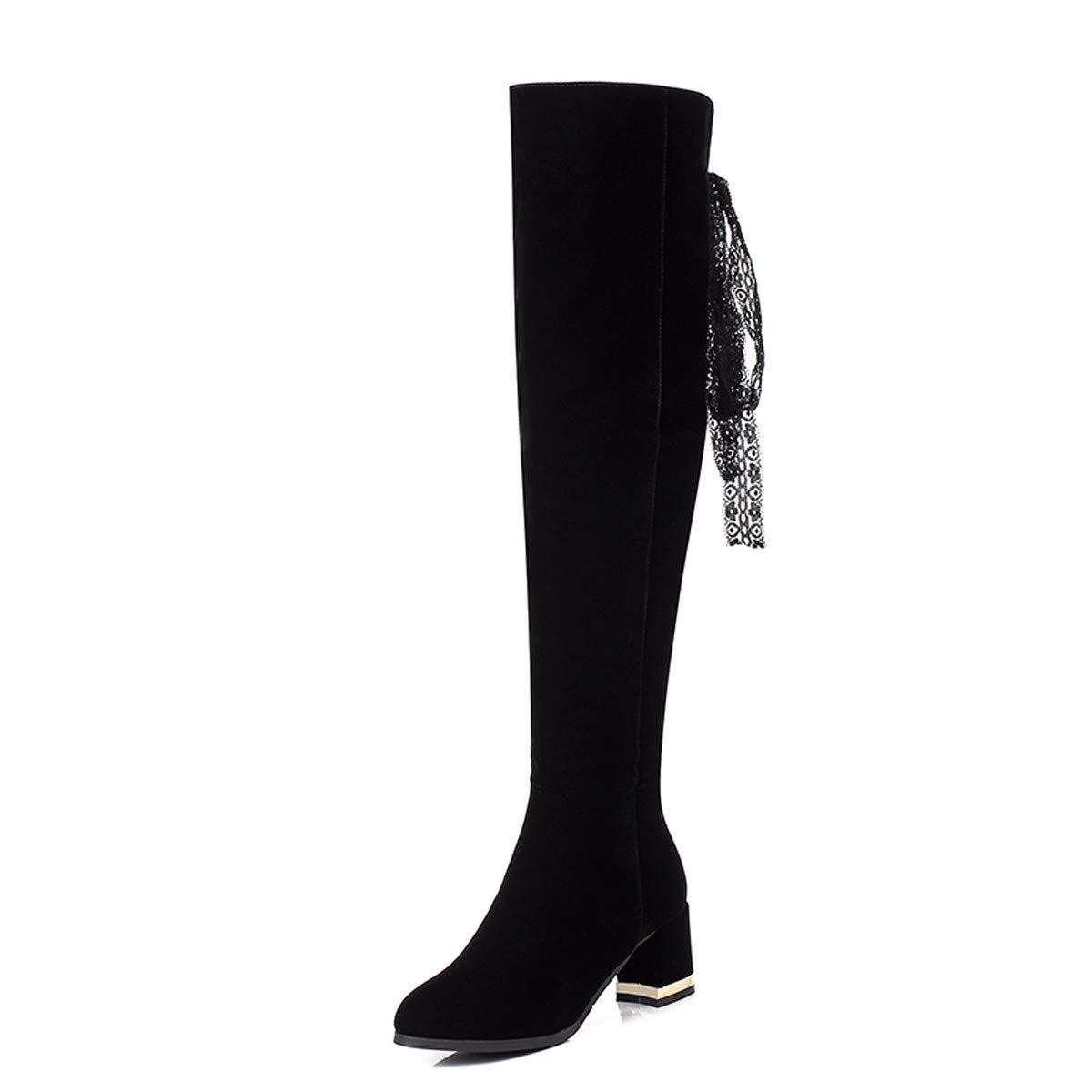 KPHY Damenschuhe Dicke Sohle Stiefel Heel 6 cm Seite Reißverschluss Schwarzen Wildleder Schleife Slim Über Knie - Stiefel