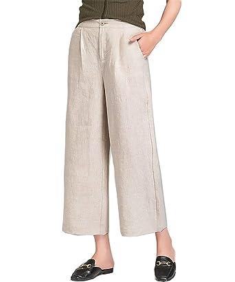 65233292 Rukiwes Women's Elastic Waist Loose Fit Trousers Cotton Linen ...