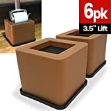 iPrimio Bed and Furniture Square Risers - Brown 6 Pack 3.5 INCH Size - WONT CRACK & SCRATCH FLOORS - Heavy Duty Rubber Bottom - Patent Pending - Great for Wood and Carpet Surface