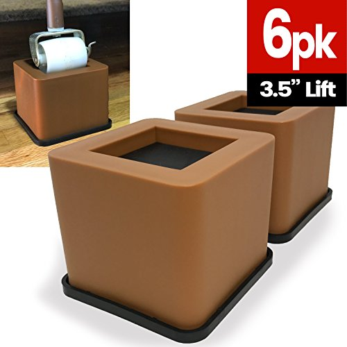 iPrimio Bed and Furniture Square Risers - Brown 6 Pack 3.5 INCH Size - WONT CRACK & SCRATCH FLOORS - Heavy Duty Rubber Bottom - Patent Pending - Great for Wood and Carpet Surface by iPrimio