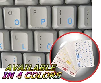 LAPTOP AND NOTEBOOK GERMAN KEYBOARD STICKER WITH WHITE LETTERING ON TRANSPARENT BACKGROUND FOR DESKTOP