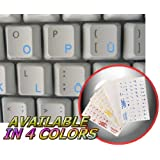 GERMAN KEYBOARD STICKERS WITH BLUE LETTERING ON TRANSPARENT BACKGROUND