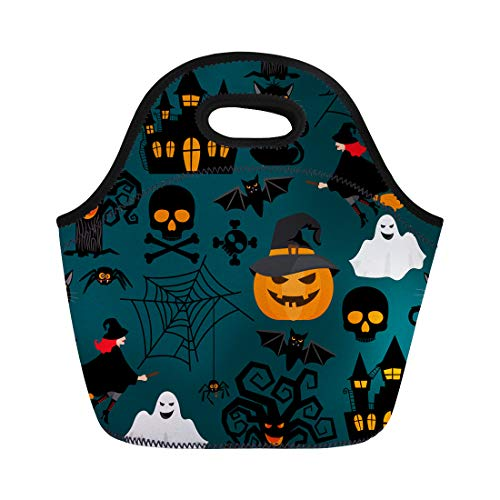 Tinmun Lunch Tote Bag Green Pattern Halloween Crafts for Orange Ghost Abstract Autumn Reusable Neoprene Bags Insulated Thermal Picnic Handbag for Women Men]()