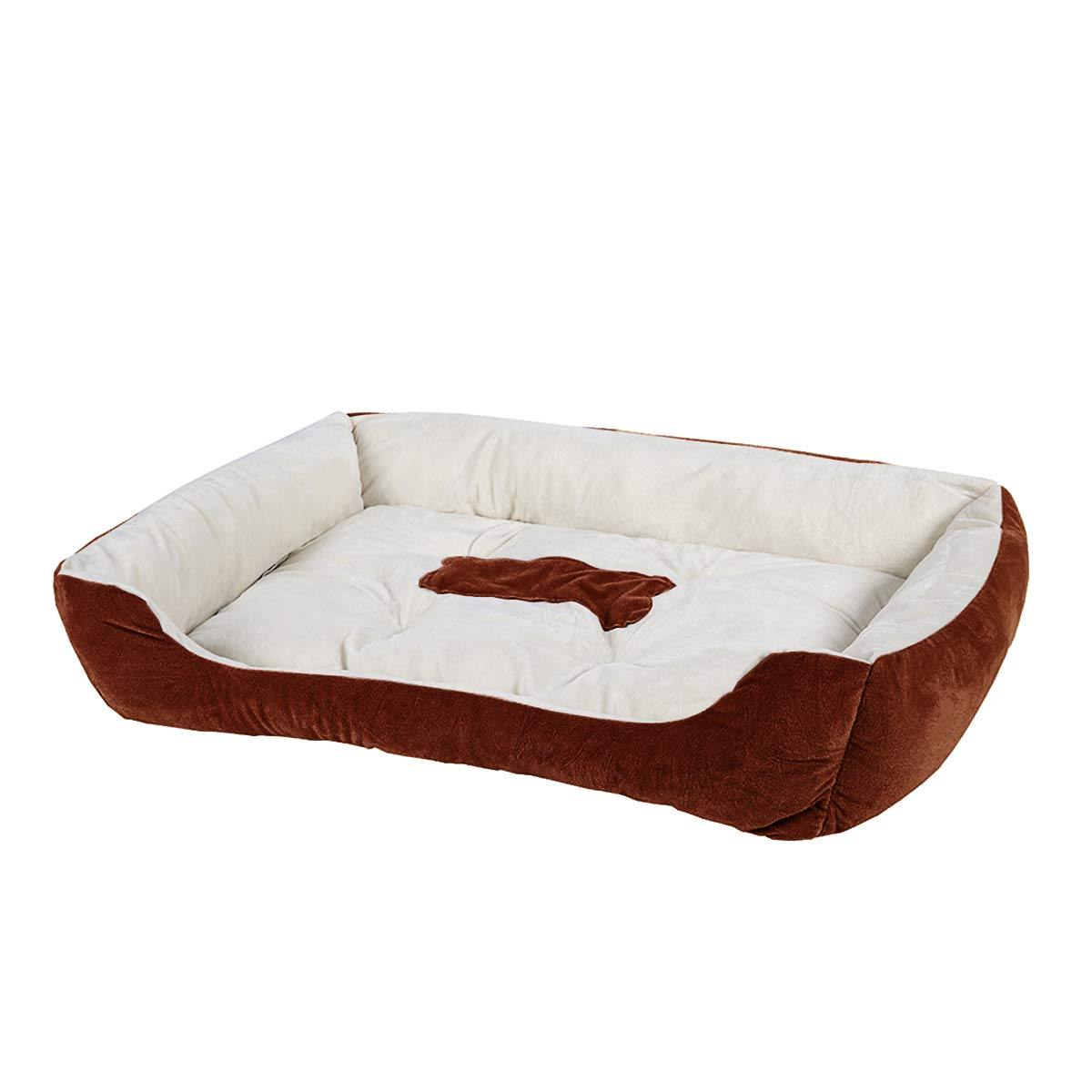 luciphia Textiles Reversible Rectangle Pet Bed with Dog Paw and Bone Printing Bone-Coffee,L(31.4x25.5In)