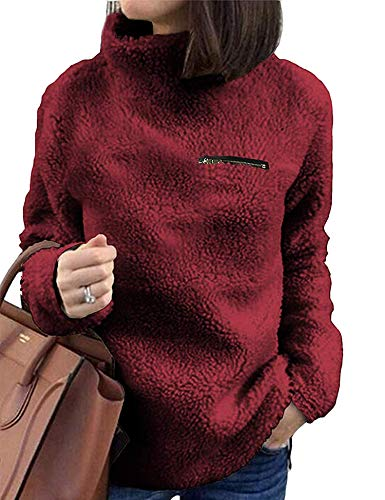 Sherpa Jacket Women Casual Pullover Soft Fuzzy Fleece Sweatshirt Shearling Casual Loose Coat