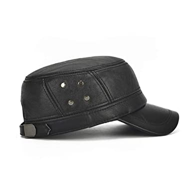 MUMUWU Winter Leather Hat Mens Plus Cotton Warm Baseball Cap Adjustable Winter Leather Cap Gentleman Hat (Color : Black, Size : 56-60CM) at Amazon Mens ...