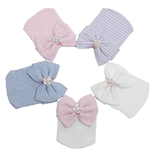 Udobuy 7 Pcs Headband Updated Version Baby Hat- Newborn Baby Girl Soft Cute Turban Knot Rabbit Hospital Hat (5 Colors Set)