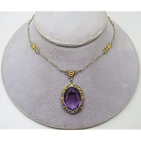 14K Multi Gold Art Deco Genuine Natural Amethyst Necklace 3391