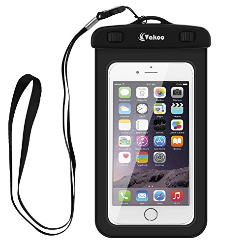 Vakoo Universal Waterproof Case, Sensitive Touch Waterproof Cellphone Dry Bag for Apple iPhone 6S, 6S Plus, iPhone 5, 5S, Galaxy S6, Note 5(Smartphone up to 6-Inch) with A Unique Neck Strap (Black)