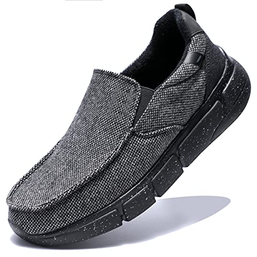 ZHR Men Casual Slippers Loafers Cotton Slip On Boat Shoes Fashion Walking Deck Shoes Slip Resistant Lightweight Comfortable Black