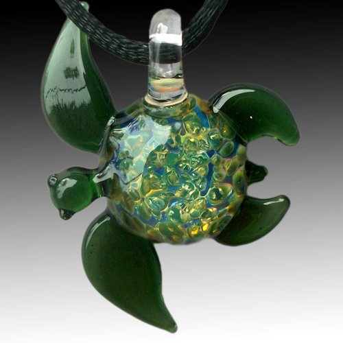 Green Sea Turtle Hand Blown Glass Pendant, Necklace, Focal Bead