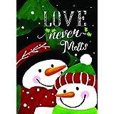 Lantern Hill Love Never Melts Snowman Garden Flag; Double Sided; 12.5 x 18 inches; Winter Seasonal Decorative Banner