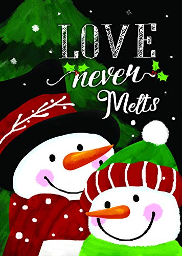 Love Snowman - Lantern Hill Love Never Melts Snowman Garden Flag; Double Sided; 12.5 x 18 inches; Winter Seasonal Decorative Banner
