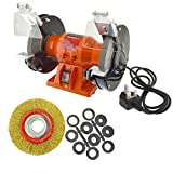 150mm Electric Workshop Bench Grinder 150w Grinding Polishing And 6'' Wire Wheel