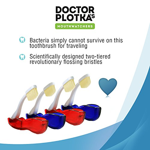 Doctor Plotka's Mouthwatchers Antimicrobial Floss Bristle Silver Travel Toothbrush, 4 Pack by MOUTHWATCHERS (Image #3)