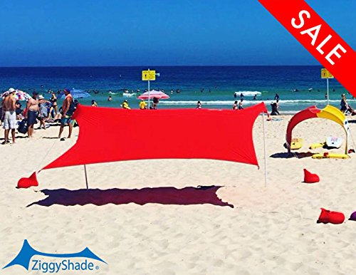 ZiggyShade UPF50 Lycra Fabric Standard Beach Sunshade Tent with Sandbag Anchors and 4 Pegs, Red