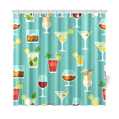 NQEONR Home Decor Bath Curtain Cocktail Color Design Creative Romance Polyester Fabric Waterproof Shower Curtain for Bathroom, 72 X 72 Inch Shower Curtains Hooks Included