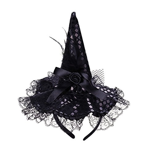 BinaryABC Halloween Witch Hat Headband for Halloween Costume Dress up Party Supplies -