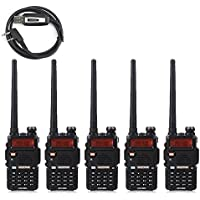 5 Pack BaoFeng 5W UV-5R 128 Channel Dual Band Two Way Radio + A USB Programming Cable