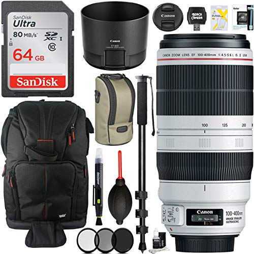 Canon EF 100-400mm f/4.5-5.6L is II USM Lens with Deluxe Monopod Plus 64GB Backpack Camera Accessory Bundle