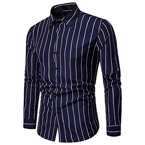 Sunmoot Business Work Men Striped Shirts Long Sleeve Button Down Turn-Down Collar Top Blouse Dark Blue]()