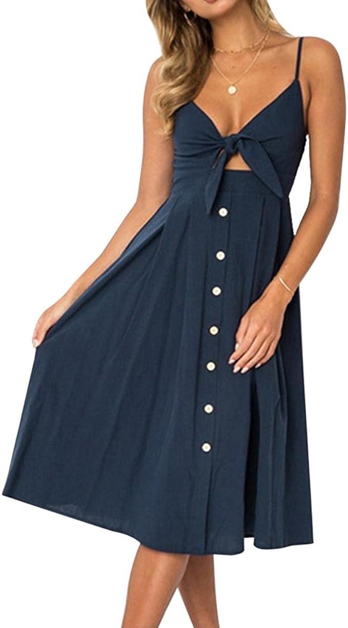 Wenyujh Damen Vintage Kleid Retro 19er Träger Rückenfrei Knielang
