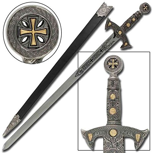 Medieval Replicas - Knights Templar Medieval Replica Longsword - Silver