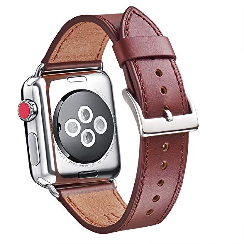 WFEAGL Compatible iWatch Band 38mm 40mm, Top Grain Leather Band Replacement Strap for iWatch Series 4,Series 3,Series 2,Series 1,Sport, Edition(38mm 40mm,Wine)]()