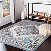 """Colors: Aqua/White/Black/Mustard/Medium Gray/BeigeStyle: Updated TraditionalSize: 5'3"""" x 7'3"""" RectangleMaterial: 100% PolyesterConstruction: Machine WovenPile Height: 0.41"""" (High Pile)Made in: Turkey"""