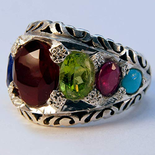(Navratna Multi Stone Handmade Persian Ring | AlAliGems | Ruby Emerald Sapphire Peridot Agate Quartz Turquoise | Silver 925)