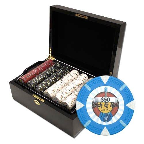 Claysmith Gaming Rock and Roll Poker Chip Set, Black/Mahogany, - Set Mahogany Poker