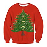 Hamrank Men's Ugly Christmas Tree Sweater Long Sleeve Crewneck Knitted Oversized Pullover Sweater Red L