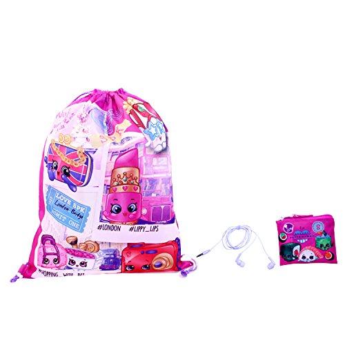 Shopkins Girls 3pc Gift Set Drawstring Bag, Pink, One Size