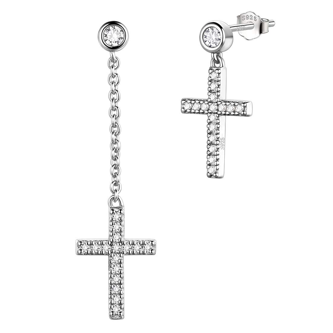 Cross Dangle Drop Earrings Women 925 Sterling Silver Crosss Stud Earrings Men Jewelry DE0145W
