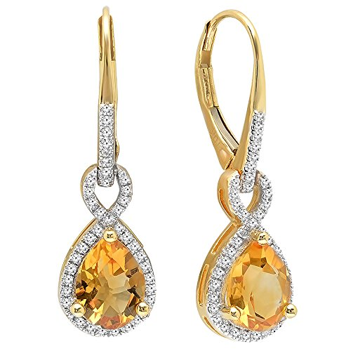 MM Each Pear Citrine & Round White Diamond Infinity Dangling Earrings (Citrine And Diamond Earrings)