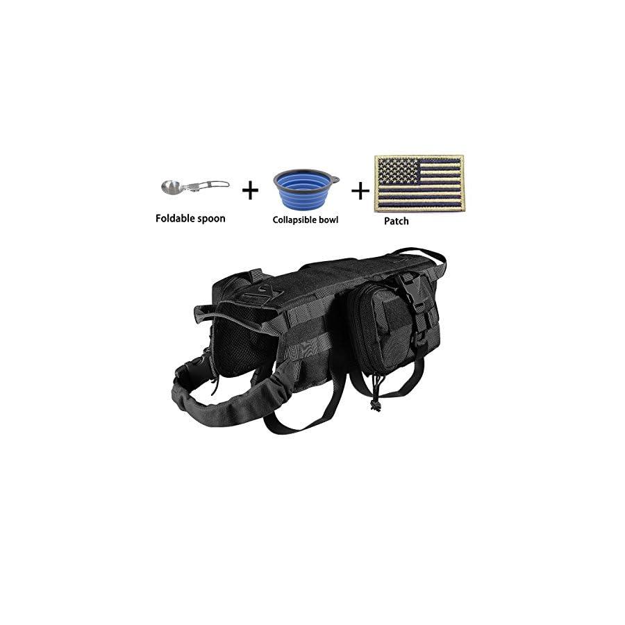 EJG Military Tactical Service Dog Training Vest Molle Dog Harness Camping Hiking Traveling Nylon Adjustable Coat with 3 Detachable Pouches for Medium & Large Dog